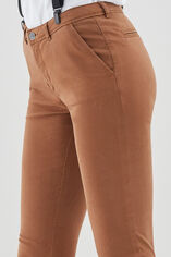 CLOEE Chino en coton stretch, TABAC, large