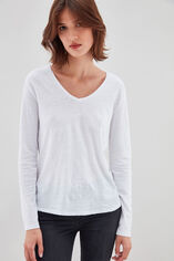 TESSA ML Tee-shirt en jersey lin et coton, BLANC, large