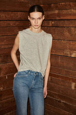 T-LORINDA Tee-shirt en lin et coton, LIGHT GREY MELANGE, large