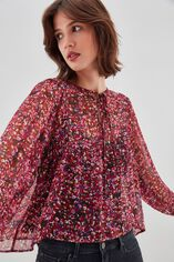 T-RYOMA Blouse ample à manches bouffantes, ROCK FLOWER, large