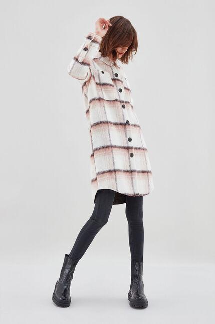 M-CASEY Manteau-Chemise en laine, BROWN CHECK, large