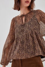 T-RYOMA Blouse ample à manches bouffantes, LIBERTY BROWN, large