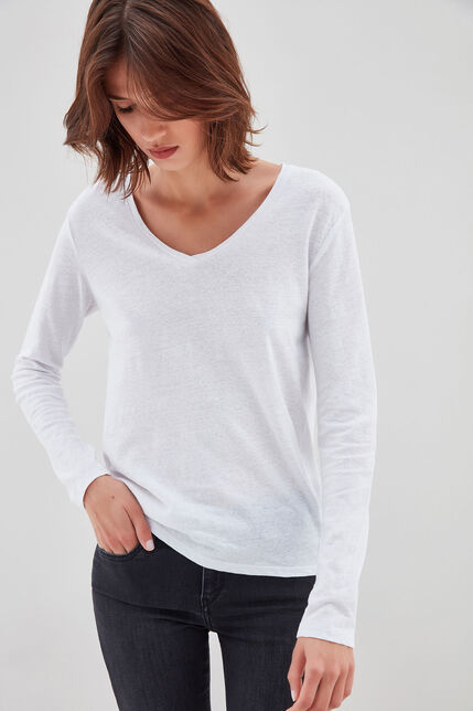 TESSA ML Tee-shirt en jersey lin et coton