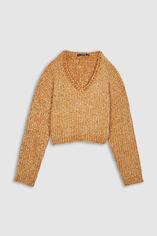 Pull court tricoté chenille - Loukia Crop, CAMEL, large