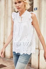 T-AGATHA Top broderie anglaise, BLANC, large