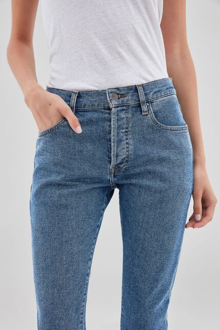 LOLA HIGH WAIST Jean à larges revers straight ankle