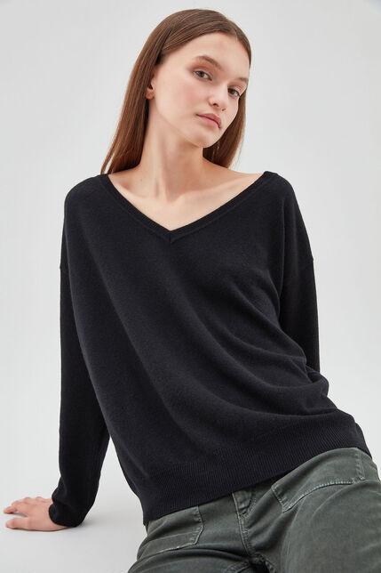 P-DEBORAH Pull en laine et cashmere, NOIR, large