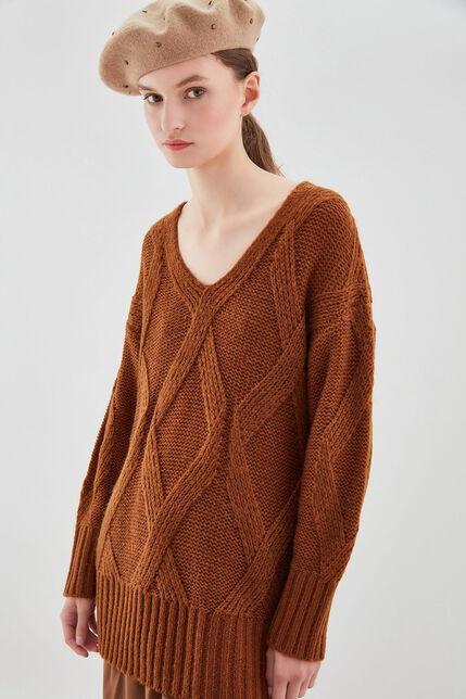 P-MELLIE Pull  large tricoté losange