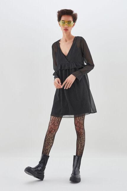 ROSALIA  Robe large effet cache coeur, BLACK DOTS, large