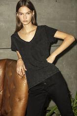 TESSA SLUB MC Tee-shirt en slub jersey coton, DARK GREY, large