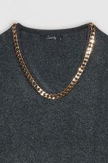 P-AURORE Pull bijoux, DARK GREY MELANGE, large
