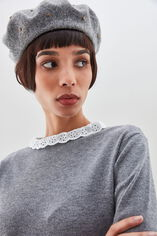 PRUDY Pull colerette en broderie anglaise, MIDDLE GREY, large