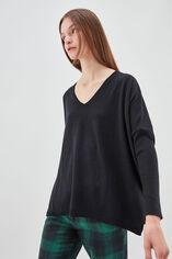 P-AMAYA Pull en laine et cashmere oversize, NOIR, large