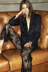 PEARLY LACE Pantalon en dentelle, NOIR, large