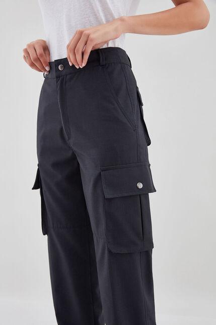 PHILIPA NAVY CHECK Pantalon en coton