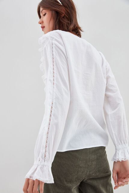 TIZIANA Blouse en coton, BLANC, large