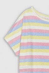 TINOA PRINT Tee-shirt oversize en lin et coton, MULTICO STRIPES, large