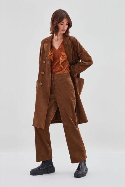 PACHA VELVET Pantalon en velours côtelé, TABAC, large