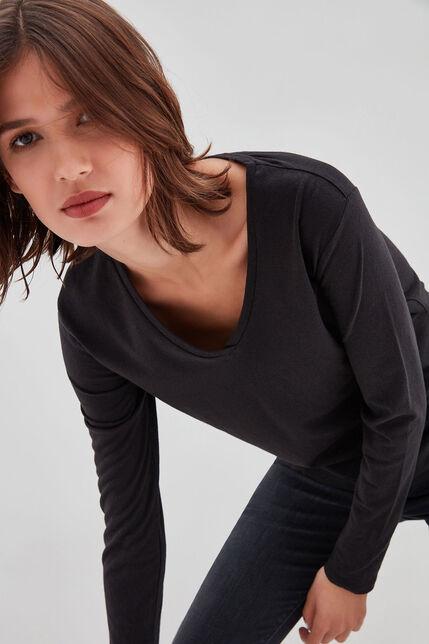 TESSA ML Tee-shirt en jersey lin et coton, NOIR, large