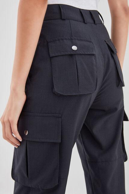 PHILIPA NAVY CHECK Pantalon en coton , NAVY CHECK, large