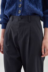 P-CLOVIS Pantalon carotte en coton, NAVY CHECK, large