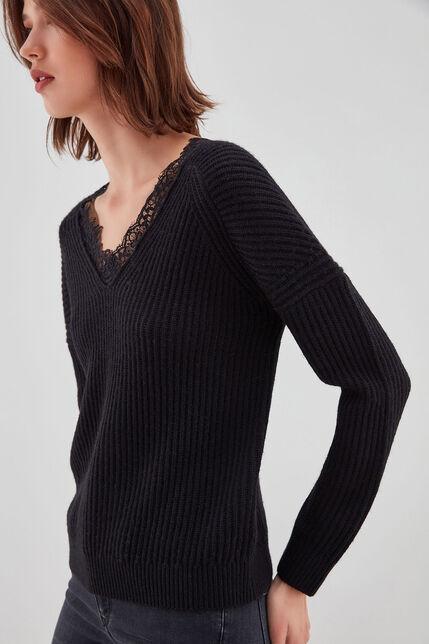 P-LUISA Pull en laine, NOIR, large
